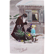 Christmas RPPC, Red Robe Santa, Tree, Children, Dolls and Toys, Joyeux Noël, Tinted French Real Photo Postcard Dated 1939