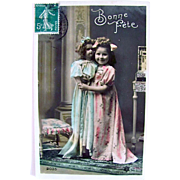 Hand Tinted French Real Photo Postcard, Happy Birthday, Little Girl and Large Doll, Vintage 1910s