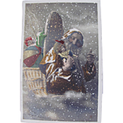 Hand Tinted French Real Photo Postcard, Orange Robe Santa, French Bisque Doll, Toys and Children, Heureux Noël, Circa 1910