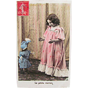 Hand Tinted French Real Photo Postcard, The Little Mother, Girl and French Fashion Doll, Postmarked 1908