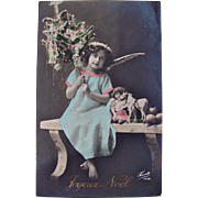 Christmas RPPC, Little Angel, Decorated Xmas Tree, Doll and Toy Horse, Hand Tinted French Real Photo Postcard, Circa 1910s