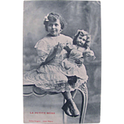 French Real Photo Postcard, Little Girl and Large Doll, Postmarked 1917