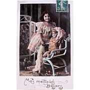 French Tinted Real Photo Postcard, Little Girl with Big, Beautiful Doll, My Best Kisses, Circa 1910s