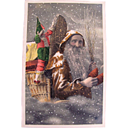 Christmas RPPC, Orange Robe Santa, Puppet, Little Wooden Shoes, Hand Tinted French Real Photo Postcard Circa Early 1900s