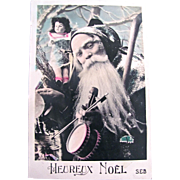 Christmas RPPC, Santa, Doll, Musical Instruments, Hand Tinted French Real Photo Postcard, Heureux Noël Circa Early 1900s