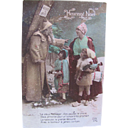 Tinted French Real Photo Christmas Postcard, Santa in Brown Robe, Mother and Children, Dated 1916, World War I
