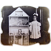 Antique Photograph, Little Girl With Big Dollhouse, Circa Early 1900s