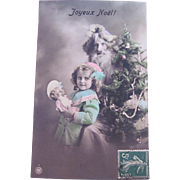 Hand Tinted French Real Photo Postcard, Santa in Lilac Robe, Little Girl, French Fashion Doll, Decorated Tree, Joyeux Noël, Circa 1910s