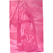 French RPPC, Saint Nicolas with Dolls and Toys, Rose-Tinted Real Photo Postcard, Vintage 1910s