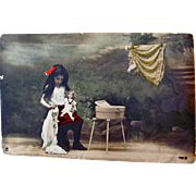 Hand Tinted French Real Photo Postcard, Laundry Day, Little Girl, Doll, Wash Tub, Clothesline, Postmarked 1908