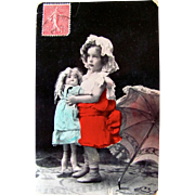 Tinted French Real Photo Postcard, Little Girl, Parasol, Large Doll, Postmarked 1907