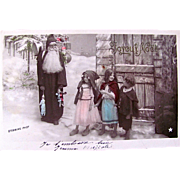 Christmas RPPC, Père Noël, Children, Dolls and Puppets, Tinted French Real Photo Postcard Postmarked 1907