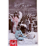 Christmas Postcard, Child as Santa, Cherubs, Doll and Toys, Hand Tinted French Real Photo Postcard Postmarked 1908