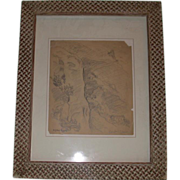 Listed Artist Eugene Higgins (1874 - 1958) Original Pencil Sketch, Double Signed,  Hillside Mountain Village, c 1925