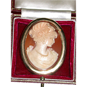 Exquisite Large Shell Cameo, 9 Karat Gold Mount, 19th Century