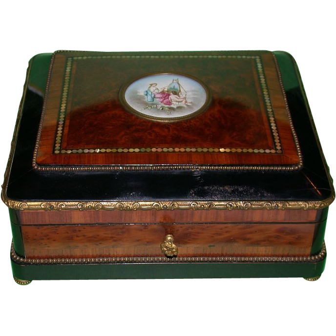 19th Century French Dresser Box with Handpainted Porcelain Miniature