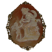 "Antique Huge Mythological Hand-Carved Shell Cameo, ""Euterpe with Angel"" 16K Gold Bezel"