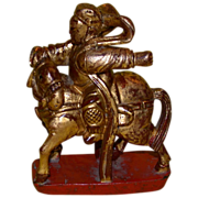 Antique Chinese Intricate Wood Carving, Warrior on Horseback, c 1880-1910