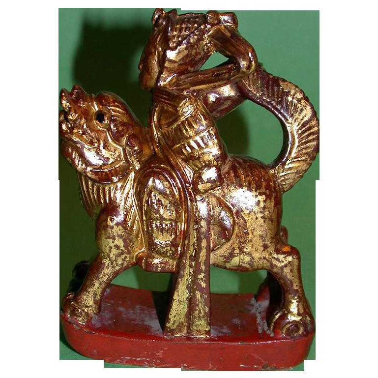 Antique Chinese Mythological Wood Carving, Warrior Riding Fantasy Animal To Battle, c. 19th century