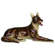 Austrian Steffl Faience Large Reclining German Shepherd