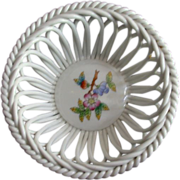 Herend Handpainted Queen Victoria Openwork (Reticulated) Basket Bowl