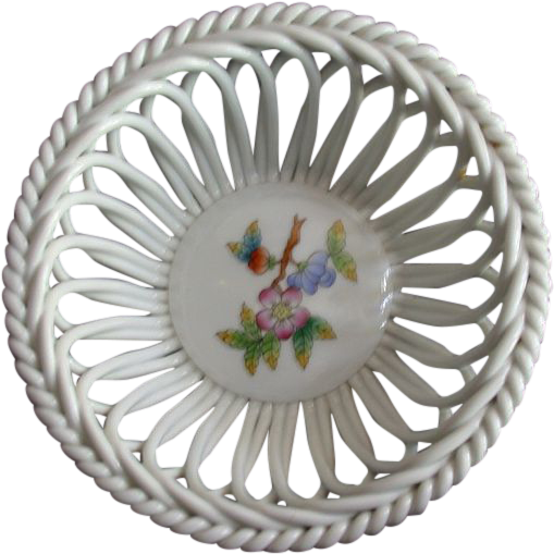 Herend Handpainted Openwork (Reticulated) Basket Bowl