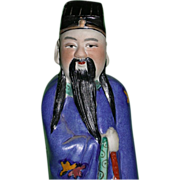 Large Hand Painted Chinese Model of An Immortal, Signed