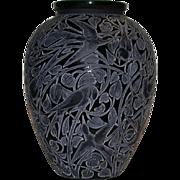 """Rare Rene Lalique Museum Quality """"Martins Pecheurs"""" Vase, Black"""
