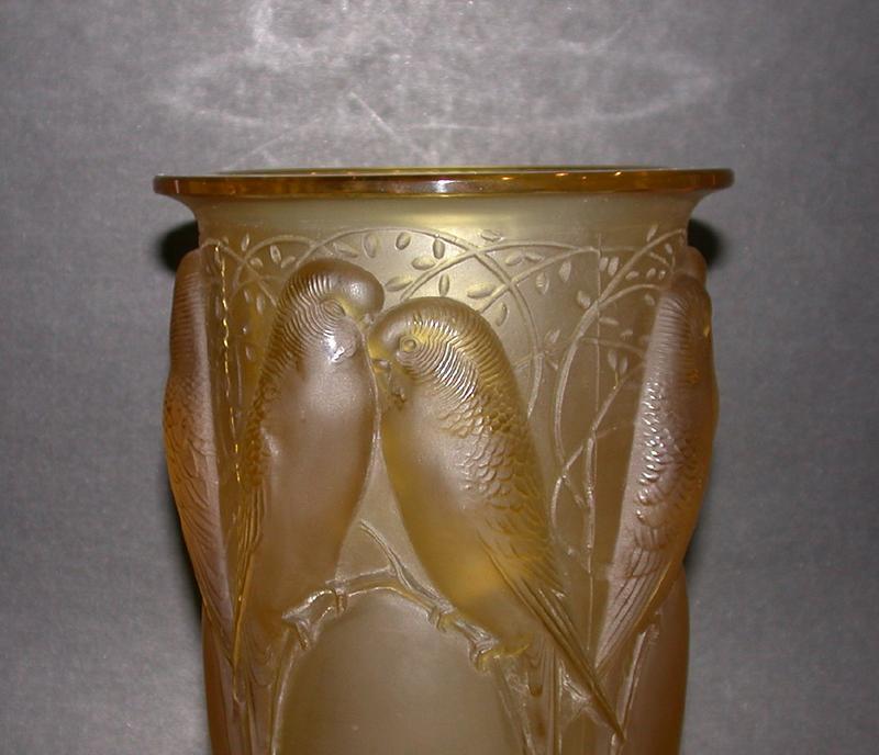 Museum Quality Rene Lalique Ceylan Vase. Yellow Amber