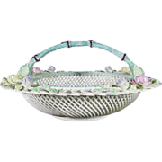 Rare and Exquisite Belleek Round Basket Center Handle, No 564, Fermanagh, c 1955-1979