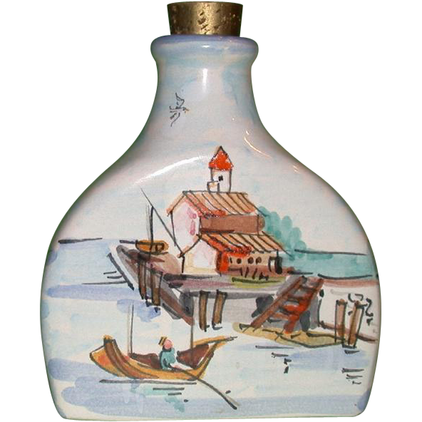 "Beautiful and Unusual, Signed and Numbered Edna Hibel ""Rockport Motif I"" Bottle, Hand-Painted in Italy"