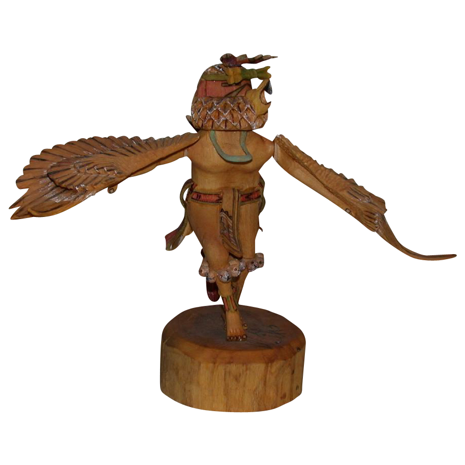 Incredible Hand-Carved Hand-Painted Hopi Kachina Eagle Dancer, Signed, with a Wing Span of over a Foot across!
