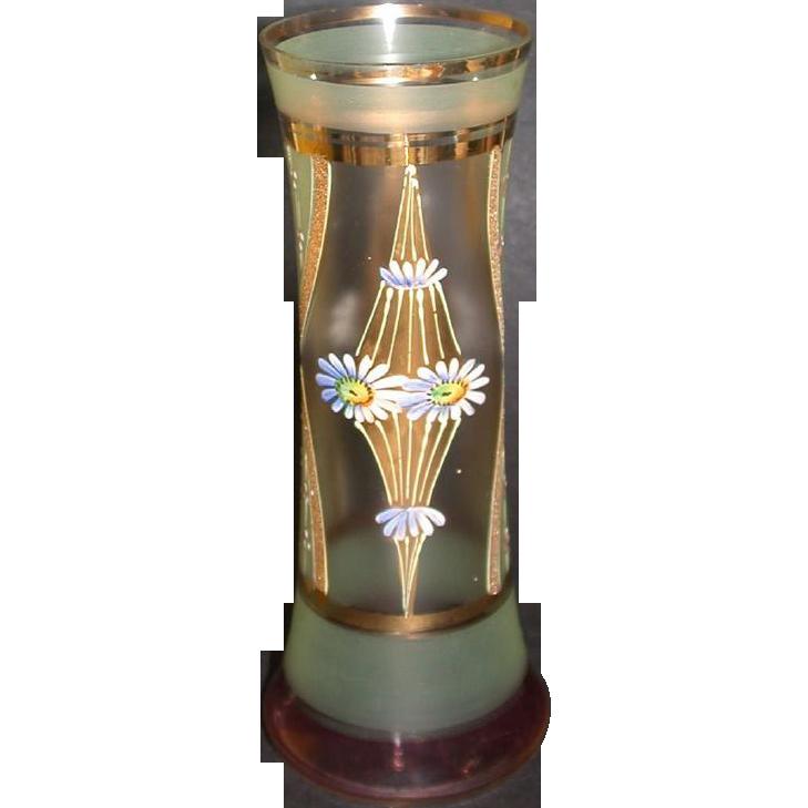 Exquisite Bohemian Art Glass Enameled Vase, c 1920-1930