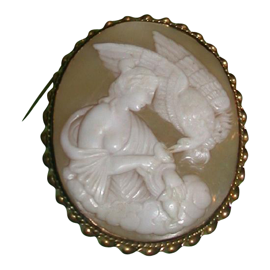 Huge Antique Cameo - Hebe Feeding Zeus' Eagle