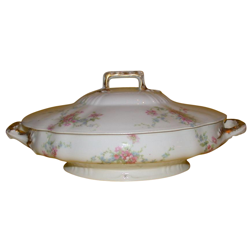 Exquisite Theodore Haviland Limoges Covered Vegetable Dish, c 1903-1925