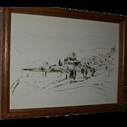 AHARON GILADI (GOLODETZ) (Russian/Israeli 1907 - 1993)  - Original Signed Vintage Drawing of a Landscape,  c 1982