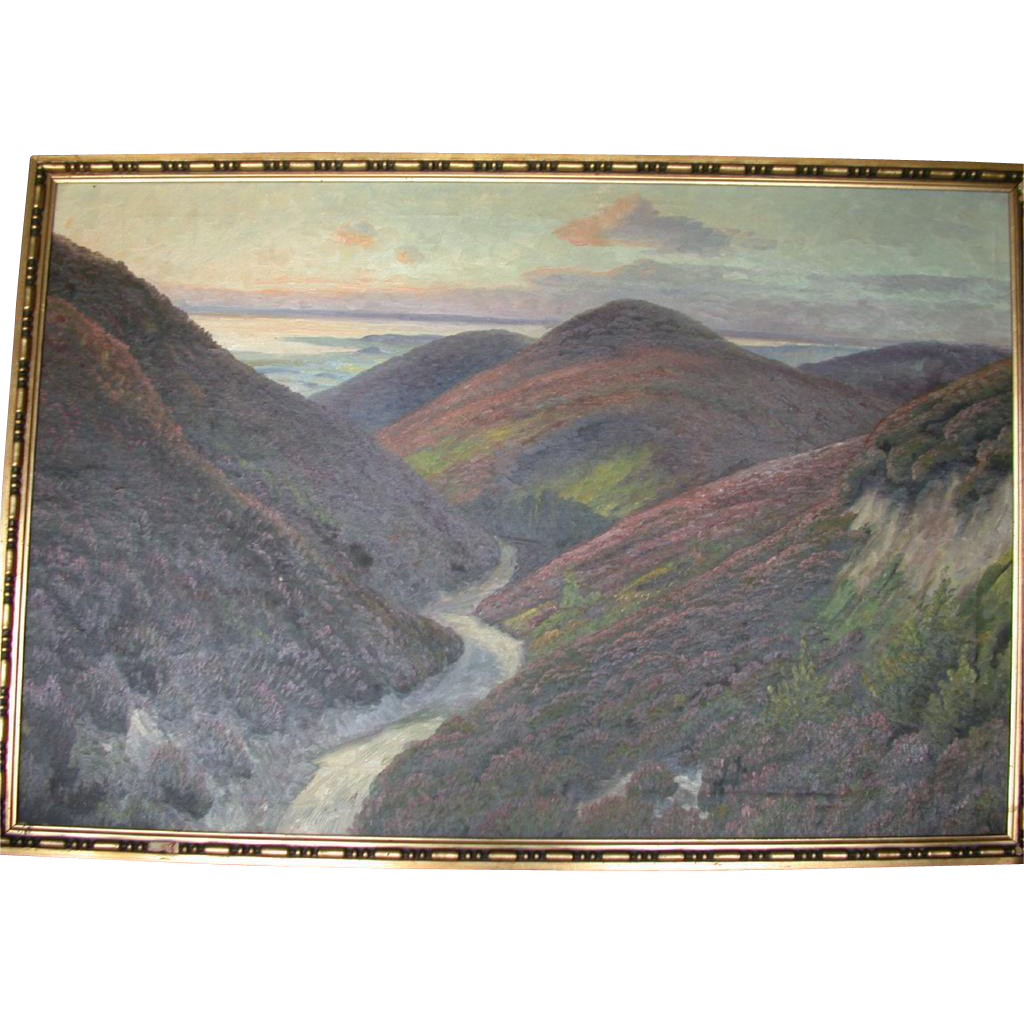 Magnificent Large Original Oil on Canvas Landscape, Signed N. Borch J.