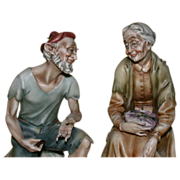 "Borsato - ""Sailor and Old Lady"" - Multi Figural Group, Charming and Sweet; Signed, Vintage"