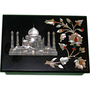 The Taj Mahal, Greatest Monument to Love Of All Time, on Pietra Dura Box from India