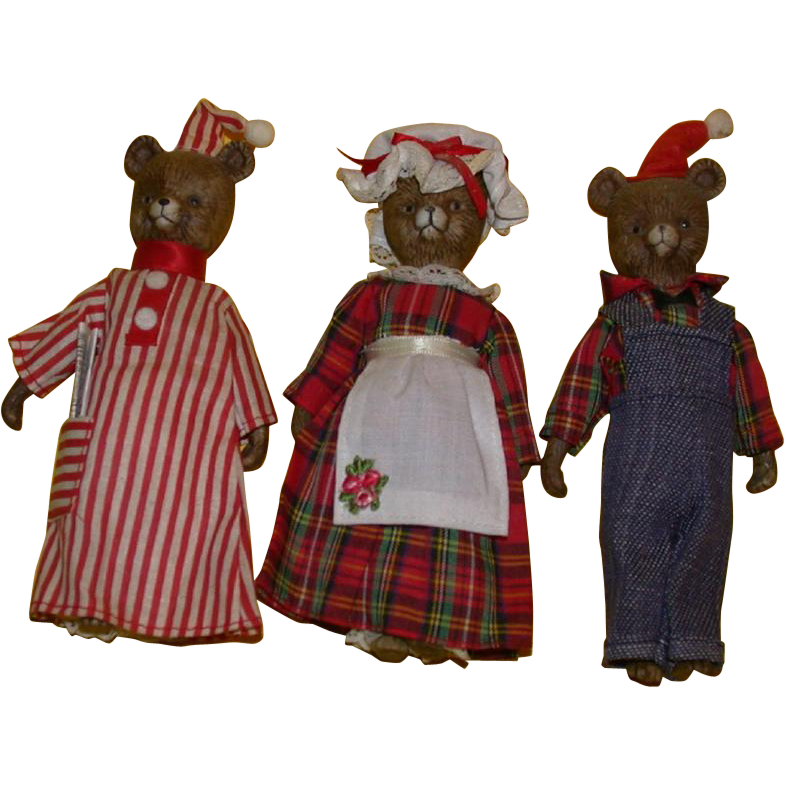 Adorable Vintage Three Piece Bear Family!