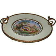 Exquisite Antique Limoges Plate in Metal Frame, c 1880