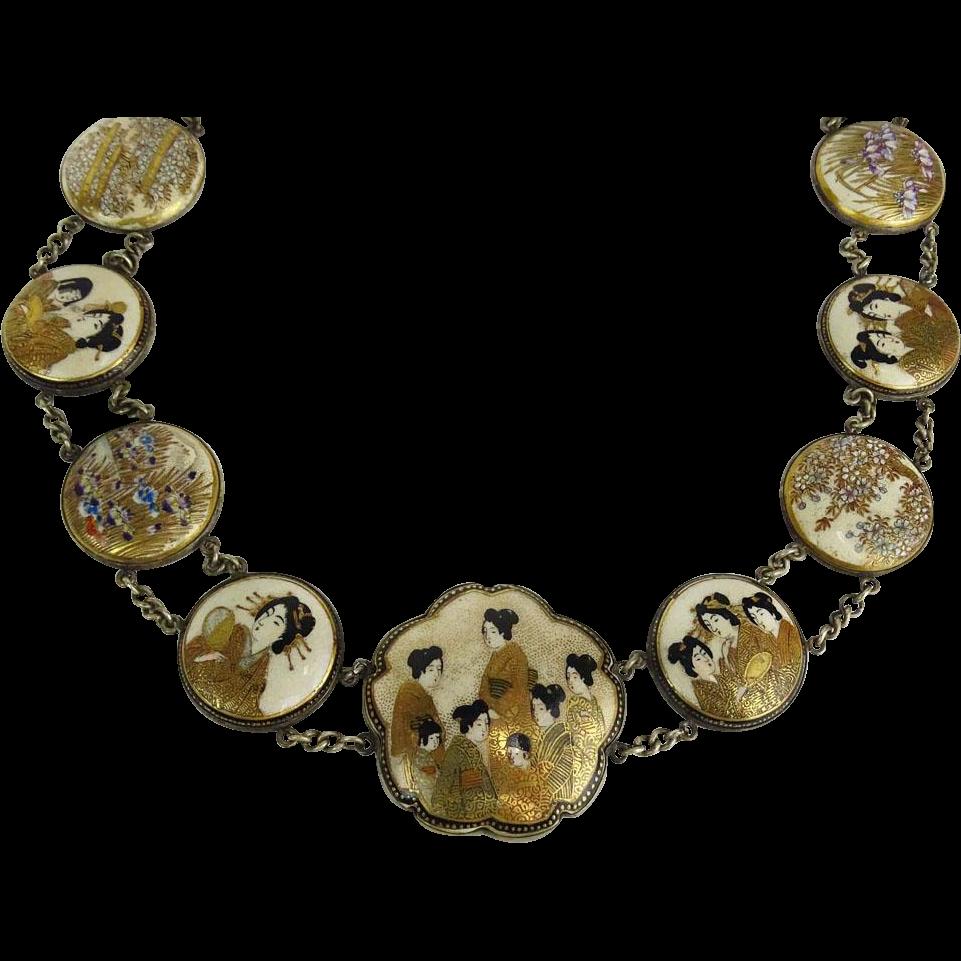 Antique Japanese Satsuma Porcelain Medallion Necklace with 14 Medallions