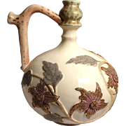 19th C. Royal Rudolstadt German Hand Painted Elegant Bulbous Ewer (Pitcher) With Textured Flowers In Relief.