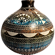 Native American (Navajo) Hand-Etched Hand-Painted Pot With Turquoise Cabochon, Signed