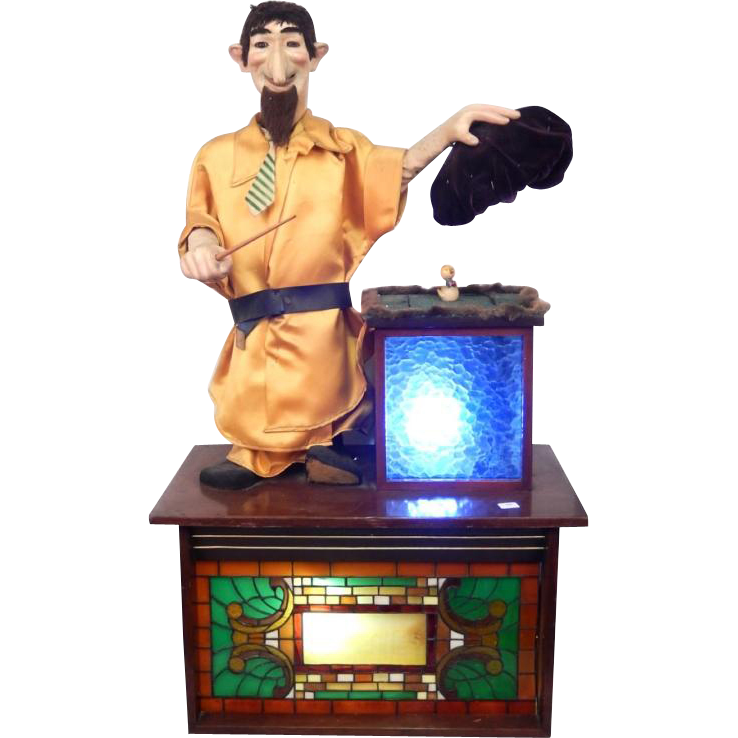 "Very Large Automaton Magician, Makes a Bird Disappear!  Lots of Movement - Eyebrows Wiggle, Head and Tie Move, He Waves His Wand!  ""Versalles"""