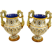 Antique Ginori Majolica Signed Urns - Pair With Chimera Handles