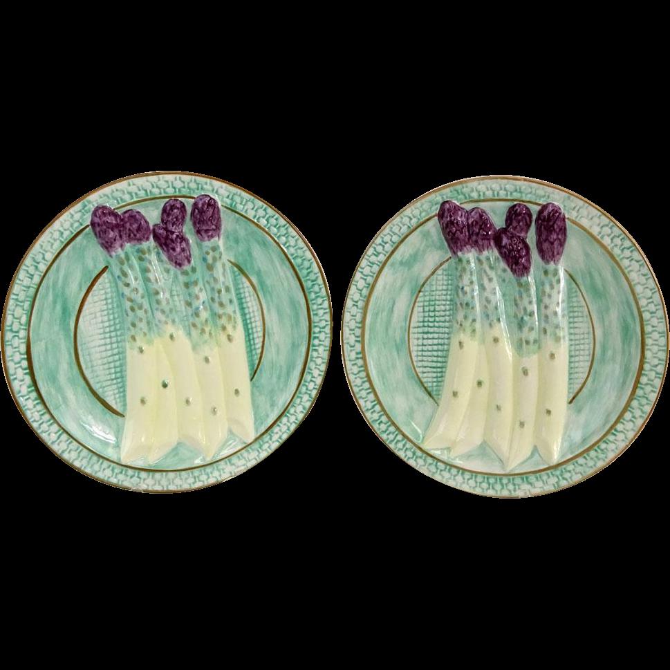 Vintage Majolica Pottery Asparagus Plates