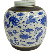 Large Antique Chinese Blue & White Porcelain Ginger Jar With Lid. The body with flower, bird, insect and fruit motif; the lid with double happiness mark.