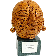 """ALEXANDER NEY American-Russian (born 1939) Terracotta and Porcelain Sculpture, """"Observer"""". Signed"""