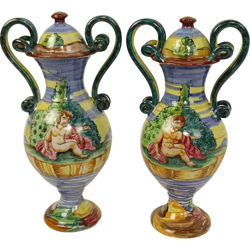 Pair Of Vintage Hand Painted Majolica Snake Handle Urns. Signed Made In Italy.